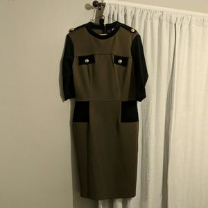Olive green military style dress
